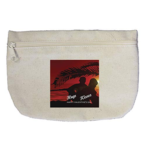 Hugs Kisses Happy Day as Couple with Nature Cotton Canvas Makeup Bag by Style In Print