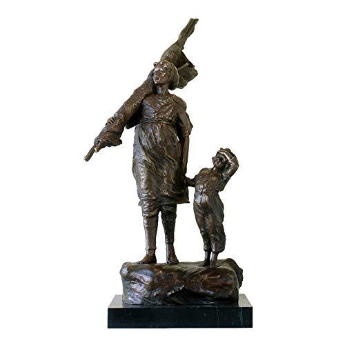 22.8″ Modern Art Go Fishing on The Sea Bronze Statue Copper Figurine