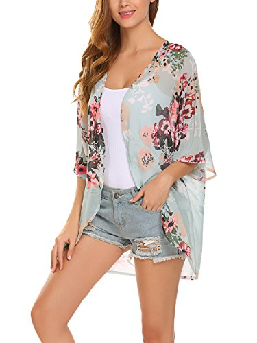 Womens Floral Print Sheer Chiffon Kimono Cardigan Blouse Loose Beach Cover up (M, Green)