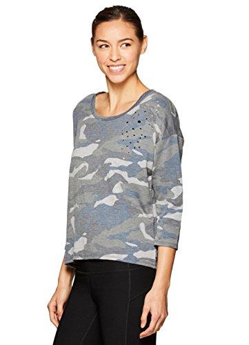 RBX Active Women's Camo 3/4 Sleeve Sweatshirt Grey XL