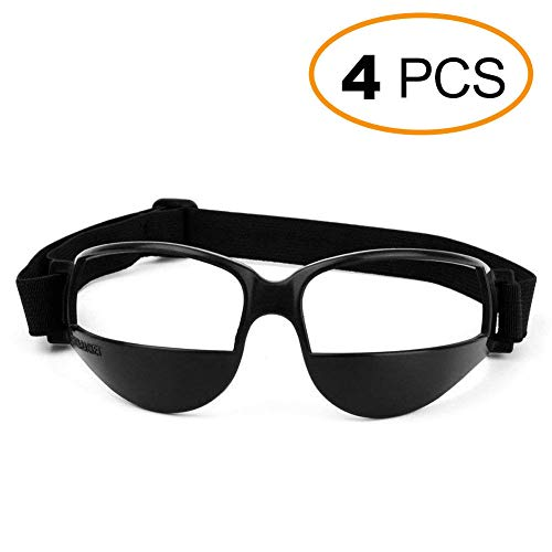 EMPHY 4 Packs Sports Dribble Goggles for Basketball Training Aid for Improve Dribbling Skill, Handling Skills, Black (4 Packs)