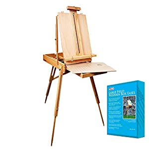 """U.S. Art Supply Coronado French Style Easel & Sketchbox with 12"""" Drawer, Wooden Pallete & Shoulder Strap"""