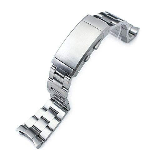 22mm Super 3D Oyster Watch Band for SEIKO Diver SKX007, Brushed, Wetsuit Ratchet ()