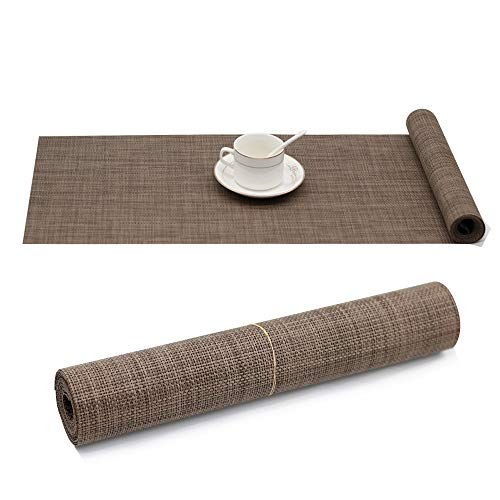 Candumy Brown Table Runner (12x72 inch) 1 Piece Crossweave Woven Vinyl Heat Resistant Washable Table Runners Placemats Perfect Accessory to Dress Up Your Dinner - Outdoor Asian Table