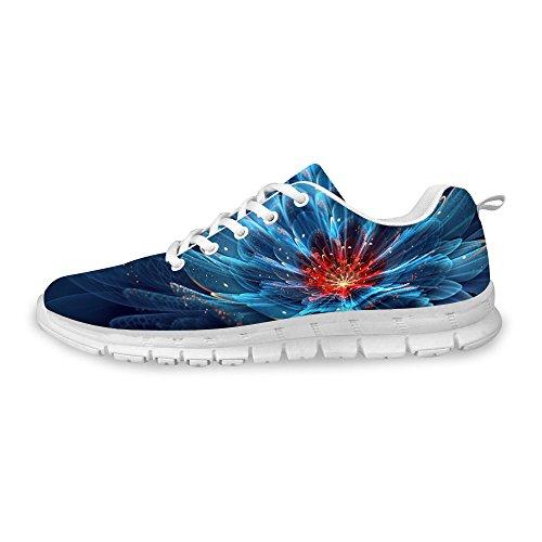 Voor U Ontwerpen Mode Heren & Dames Ademende Bloemen Sneakers Loopschoenen Blauw A1