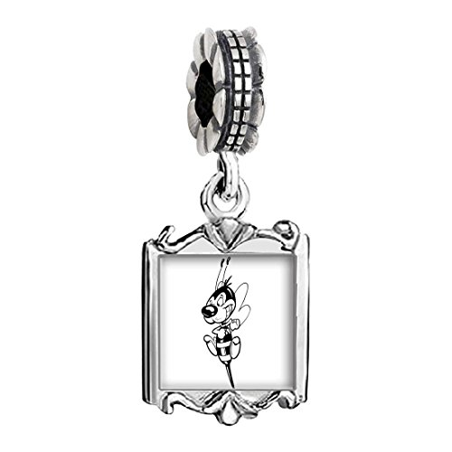 Charms Bee Baby (Silver Plated Happy Honeybee Photo Family Mom & Baby Girl & Dad Dangle Bead Charm Bracelet)
