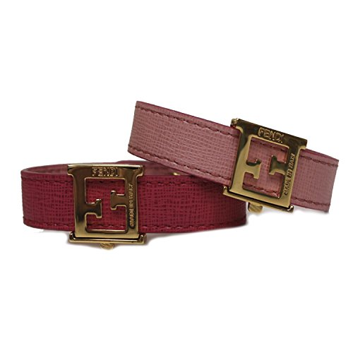 Fendi FF 'Crayons' Reversible Pink Saffian Leather Bracelet 8AG408 W7K F0P8B by Fendi