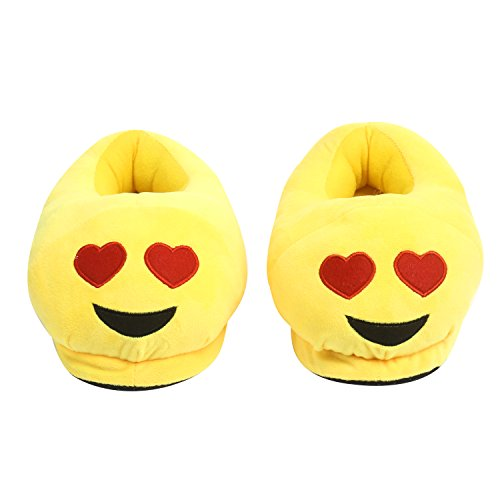Merssavo Emoji Zapatillas Zapatillas de Invierno de Deslizamiento Cálido Expresión de la Felpa de la Casa de los Zapatos color 3