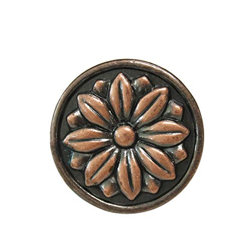 10 Pack Antique Copper 1.5'' Diameter Round Flower Cabinet Knobs and Pulls Vintage Drawer Dresser Cupboard Closet Pull Handles Kitchen Bedroom Hardware -