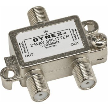 Dynex 2-Way Coaxial Splitter, DX-HZ703 Silver 5-2050MHz ()
