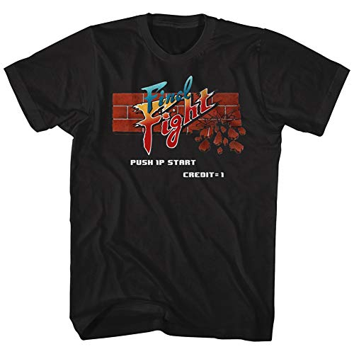 American Classics Final Fight Video Arcade Game Brick Logo Push 1P Start Adult T-Shirt Tee