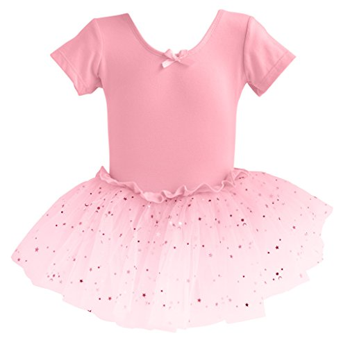 Dance Pretty For Girls Costumes (Dancina Leotard Sparkle Tutu Dress Short Sleeve Disney Princess Fairy Dress Up Leo Costume 8 Light)
