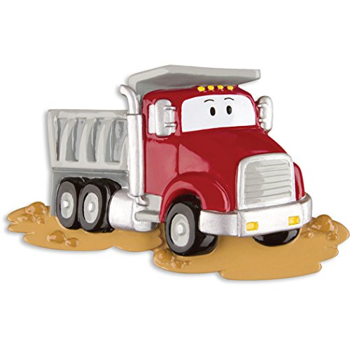 Personalized Dump Truck Christmas Tree Ornament 2019 - Red Mighty Lift Toy Machine Eyes Tonka Caterpillar Construction Boy Toddler Holiday Pixar Cars Colossus XXL Kid Gift Year - Free ()