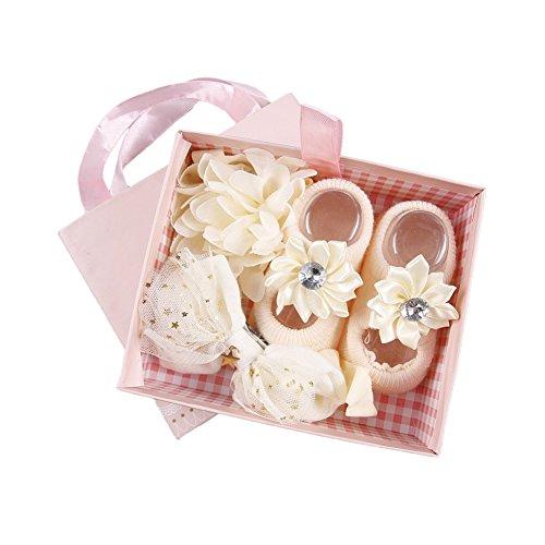 Baby Socks Flowers - ? BOBORA ? Newborn Baby Girl Organic Anti Slip Socks + Girl's Flower Crown Headbands Sets with Gift Box- Best Baby Shower Gift