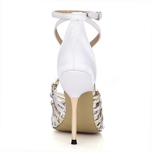 metal 10 para blancas Best alto Peep mujer de tejidas hebilla toe cruce 4U® Sandalias EU35 Bombas con Tacones una Zapatillas de verano 7CM de de Sandalias goma PU de YYU6xpr