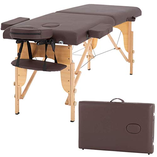 Massage Table Massage Bed Spa Bed 73 Inch Portable 2 Folding W/Carry Case Table Heigh Adjustable Salon Bed Face Cradle Bed (Renewed)