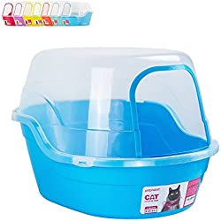 Petphabet Jumbo Hooded Cat Litter Box, Extra Large, Light Blue