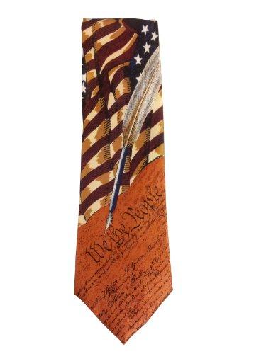 Men's Collectible Patriotic Novelty Men's Constitution American Flag Necktie