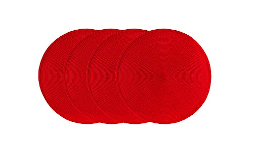 (Ritz Round Easy-Clean Reversible Woven Placemat, Cherry Red, Set of)