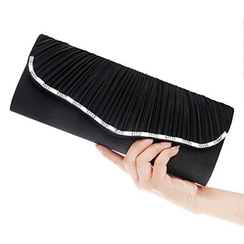 Womens Handbag Clutch Bag Pleated Ladies Wallet and Purse Long Clutch Bag Handbag Card Holder Bow Wedding Bridal Prom Ladies Handbags (Color : ()