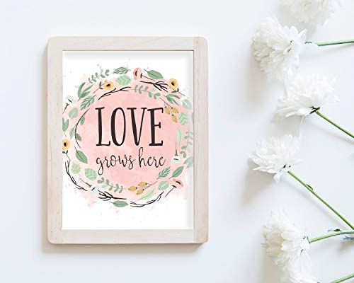 Arvier Printable Love Grows Here Spring Watercolor Floral Farmhouse Artwork DIY Quote Artwork Art Entryway Welcome Home Spiritual Quote (Love Grows Best In Little Houses Printable)