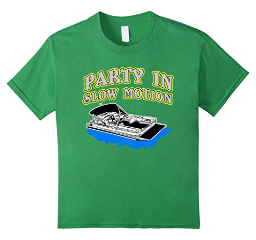 Kids Funny Pontoon T-shirt - PARTY IN SLOW MOTION Pontooning Tee 8 Grass