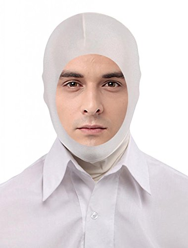 Seeksmile Unisex Lycra Spandex Full Cover Zentai Hood Mask (Adult Size, White Open-Face)