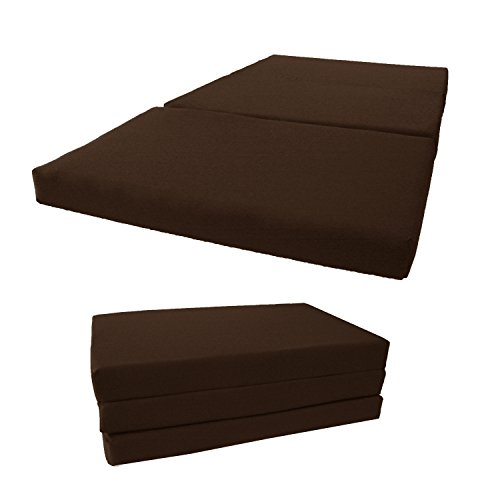 Brand New Shikibuton Tri Fold Foam Beds, Tri-Fold Bed, High Density 1.8 lbs Foam, Twin Size, Full, Queen Folding Mattresses. (Twin Size 4x39x75, Brown) by D&D Futon Furniture