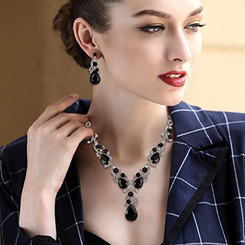 BriLove Women's Wedding Bridal Crystal Multi Teardrop Cluster Statement Necklace Dangle Earrings Set 2