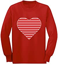 Red Striped Heart Love Girls Long Sleeve T-Shirt