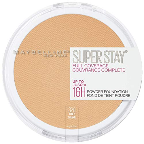 Maybelline New York Super Stay Full Coverage Powder Foundation Makeup Matte Finish, Honey, 0.18 Ounce
