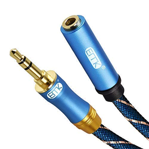 Audio 6ft Cable Extension Stereo (Headphone Extension Cable,EMK 3.5mm Audio Extension Cable Male to Female[24K Gold-Plated,Hi-Fi Sound] Nylon-Braided Stereo Audio Extension Cord for Smartphone,Tablets,MP3 Players (6Ft/1.8Meters))