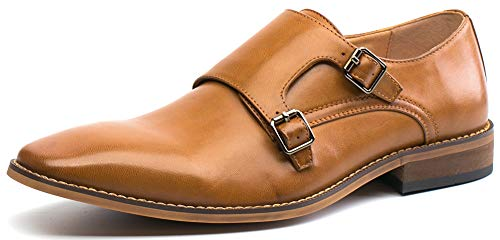 (Men's Dress Shoes Monk Strap Double Buckle Loafers Slip on Oxford Shoes(12(D,M) US,Brown))