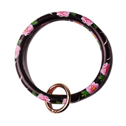 - L&N Rainbery PU Leather O Key Chain Circle Tassel Wristlet Keychain for Women Girls (Pink Flower)