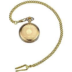 Zeiger Men Classic Mechanical Steampunk Stainless Copper Skeleton Roman Design Pocket Watch Chain Gold