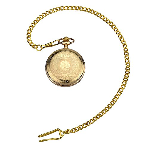 Zeiger Men Classic Mechanical Steampunk Stainless Copper Skeleton Roman Design Pocket Watch Chain - Off Watch Chain