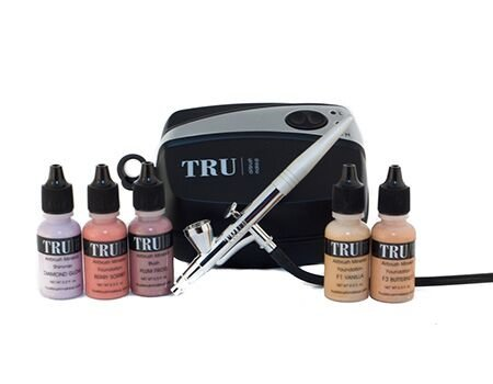TRU Airbrush Cosmetics Mineral Makeup Set Essentials KIT Fair Skin Tone 7 Piece Makeup Set with Free Travel Bag