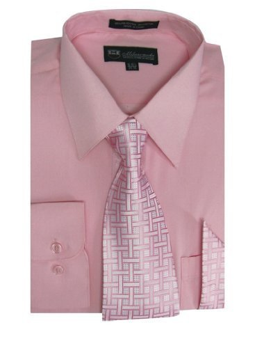 (Milano Moda Men's Long Sleeve Dress Shirt With Matching Tie And Handkie SG21A-Pink-18-18 1/2-36-37)