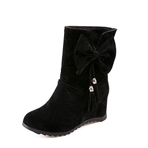 WJNKK Herbst Winter Peeling Innerhalb Der Zunahme Bogen Stiefel Damen Schuhe Wildleder Faux Funky Rubber Black