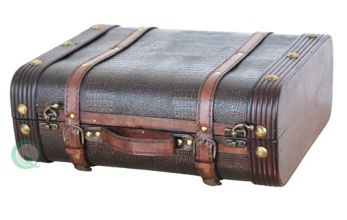 VintiquewiseTM-Decorative-Wooden-Leather-Suitcase
