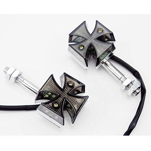 Motorcycle Lights Motorcycle Tail & Decoration Lights - 12V Pair Motorcycle Maltese Cross LED Tail Rear Turn Signal Universal (Smoke) - Maltese Cross Tail Light
