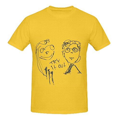 Skrillex Try It Out Tour Rock Mens Crew Neck Cotton Shirts Yellow