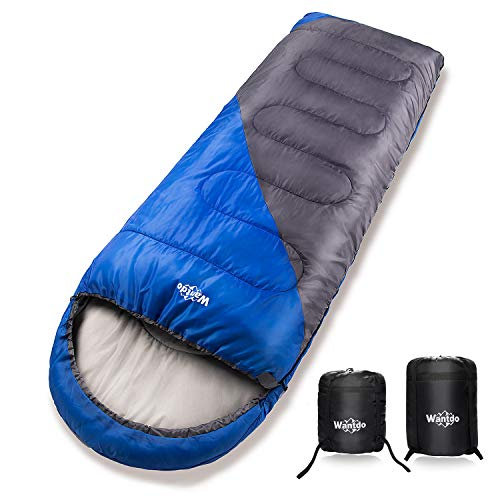 Wantdo Sleeping Bag with Hood for Cold Weather 30 Fahrenheit Indoor Outdoor Use Waterproof, Portable Lightweight Great for Camping Backpacking Hiking