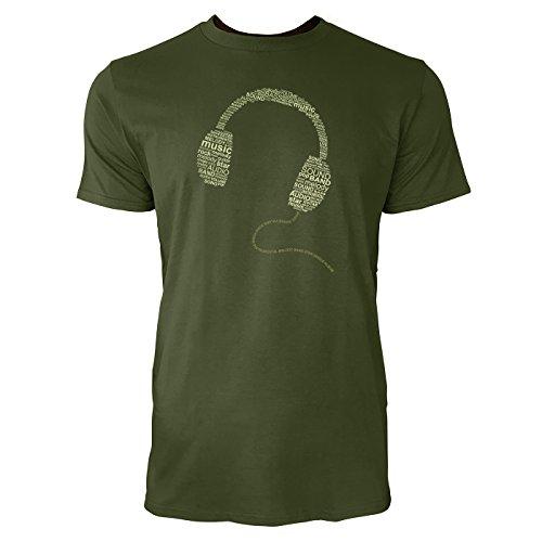 SINUS ART ® Typographie im Form eines Kopfhörers Herren T-Shirts in Armee Grün Fun Shirt mit tollen Aufdruck