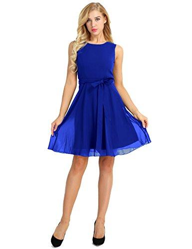 iiniim Damen Kleid Chiffon Kleid Knielang mit Faltenrock Ärmellos  Cocktailkleid Ärmellos Elegant Partykleid Abendkleid S- 8bf9358543