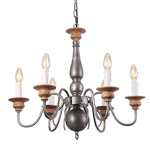 Eumyviv C0025 Williamsburg 6-Lights Antique Metal Chandelier Retro Rustic Industrial Pendant Light Edison Vintage Decorative Light Fixtures and Ceiling Light (Canopy Adjustable Height Light Fixture)
