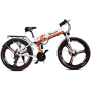 LIMQ Professional Mountain Electric Bike,Suspension Electric Bicycle 350W Ebike 48V Power Regeneration, Seat Adjustable, Portable Folding Bicycle, Cruise Mode,White