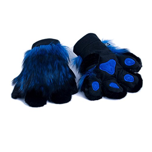 Pawstar Paw Mitts Realistic Furry Animal Hand Paws Costume Gloves Adults - Blue