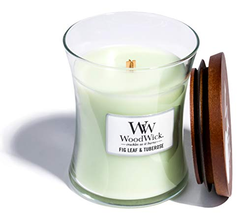 WoodWick Fig Leaf & Tuberose, Highly Scented Candle, Classic Hourglass Jar with Lid, Medium 4 Inches, 9.7 OZ