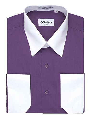 Men's Purple Two Tone Dress Shirt w/ Convertible Cuffs - XXXLarge 36 /37